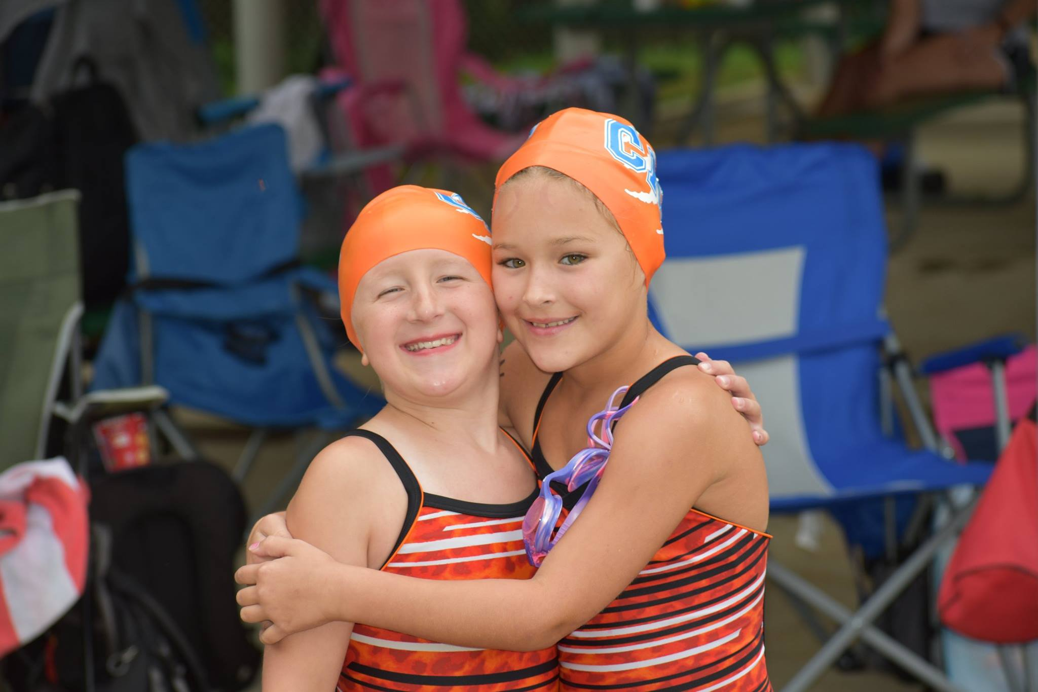 Two girls on swim team