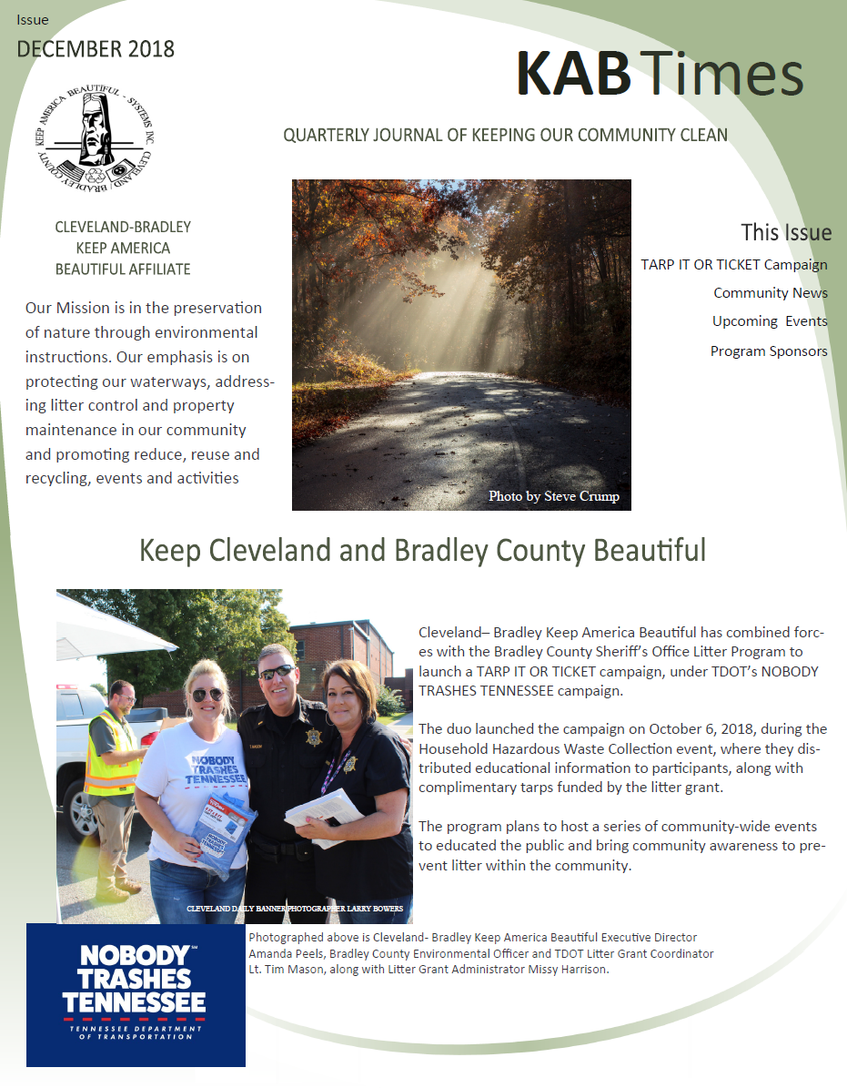 Keep America Beautiful Newsletter (PDF) Opens in new window